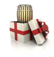 mysterious magic gift with  wooden beverage keg render