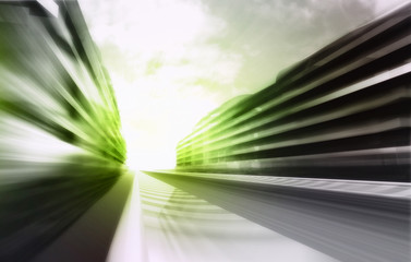 motion blurred racetrack in business city wallpaper