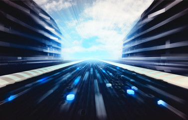 blue futuristic city street with binary code road wallpaper