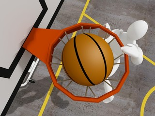 slam dunking basketball, 3d