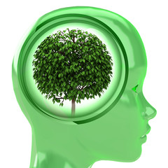 green human head with brain cloud with leafy tree inside