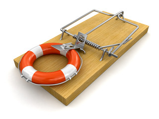 Mousetrap and Lifebuoy (clipping path included)