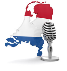 Microphone and Netherlands (clipping path included)