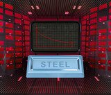 business decrease or negative results of steel merchandise poster