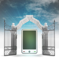 divine smart phone technology in heavenly gate with sky flare
