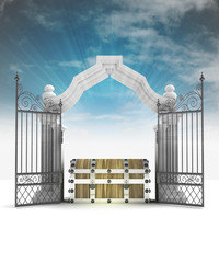 divine treasure secret in heavenly gate with sky flare