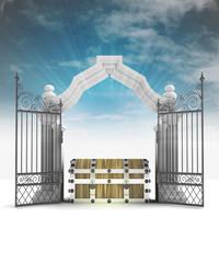 divine treasure secret in heavenly gate with sky flare