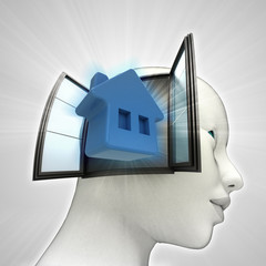 home living coming out or in human head window
