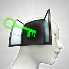 key opening  human head through window memory
