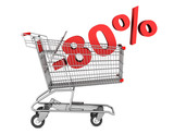 shopping cart with 80 percent discount isolated on white backgro