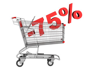 shopping cart with 75 percent discount isolated on white backgro