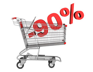 shopping cart with 90 percent discount isolated on white backgro