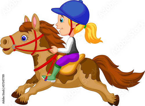 Poster Pony Little girl riding a pony horse