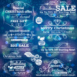 Set of sale labels over blue christmas background