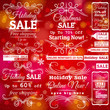 Set of sale labels over red christmas background