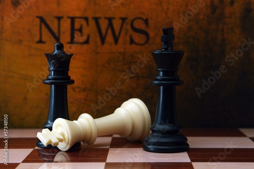 Chess and news concept Poster