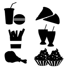 silhouettes of fast food
