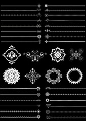 Collection borders and ornaments on black background