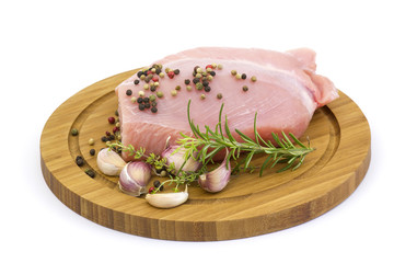turkey meat on wooden board with various herbs and spices