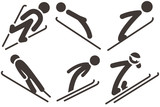 Ski jumping icons set