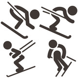 Downhill skiing icons  set