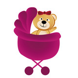 teddy bear in a pink carriage