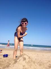 funny girl on beach