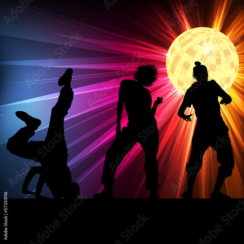 Dancing silhouettes vector background disco ball
