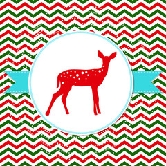 Vector Christmas background with deer on zigzag pattern