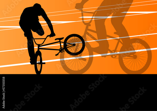Extreme cyclist active sport silhouettes vector background © kstudija