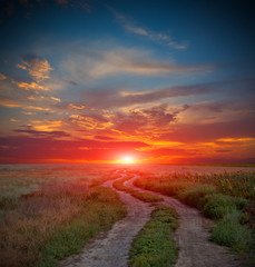 road in steppe on sunset time