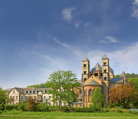 Romanesque Maria Laach Monastery, Lake Laach in Germany