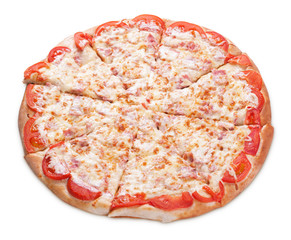 Delicious pizza with ham and tomato on white. Clipping path