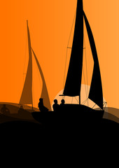 Yacht sports sailing with active men in sea and ocean background