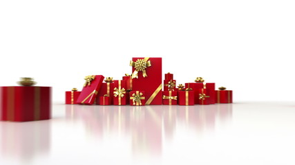Red gifts on white background. Holiday 3d animation