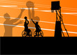 Active disabled men basketball players in a wheelchair detailed