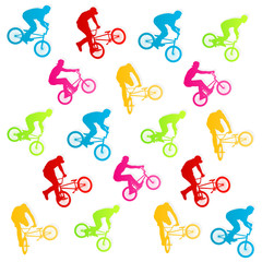 Extreme bicycle riders vector background illustration