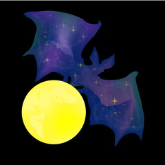 bat with the moon