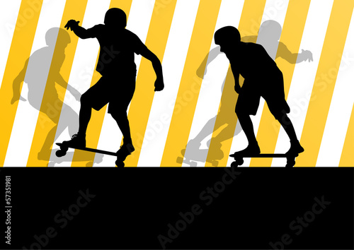 Active skateboarders detailed sport concept silhouette illustrat