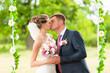 Groom and  bride  on swing