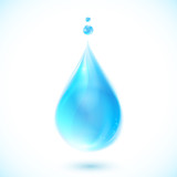 Blue vector water drop on white background
