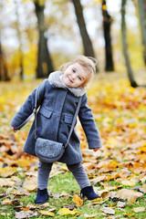 Cute little girl portrait in autumn park