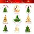 Christmas Trees Set - Isolated On White Background