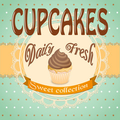 banner for cafe with cupcake
