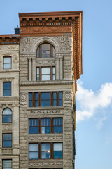 Architectural details on Soho building, Manhattan, New York