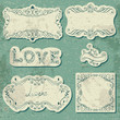 Set of vintage cards with calligraphic elements