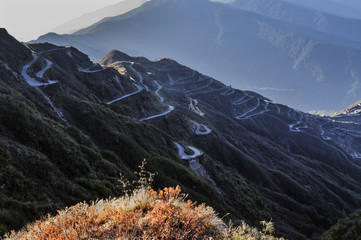 Curvy roads on Old Silk Route,  Sikkim