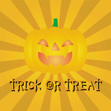 "pumpkin with a word ""trick or treat"" , halloween party, vector i"
