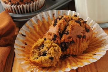 Fresh chocolate chip pumpkin muffin