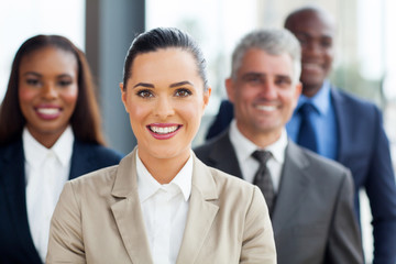 businesswoman with co-workers